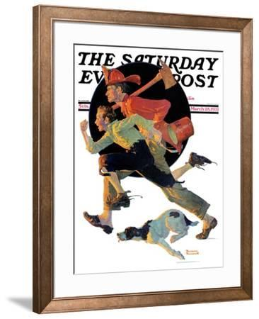 """To the Rescue"" Saturday Evening Post Cover, March 28,1931 by Norman Rockwell"