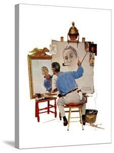 """""""Triple Self-Portrait"""", February 13,1960 by Norman Rockwell"""