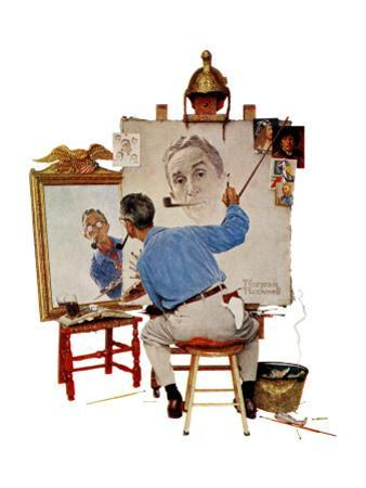 """Triple Self-Portrait"", February 13,1960 by Norman Rockwell"