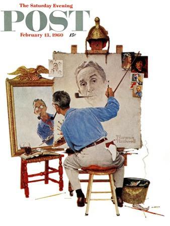 """Triple Self-Portrait"" Saturday Evening Post Cover, February 13,1960"