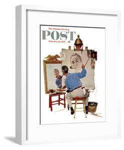 """""""Triple Self-Portrait"""" Saturday Evening Post Cover, February 13,1960 by Norman Rockwell"""