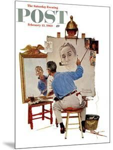"""Triple Self-Portrait"" Saturday Evening Post Cover, February 13,1960 by Norman Rockwell"