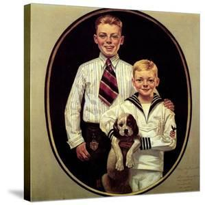 Two Boys with Dog by Norman Rockwell