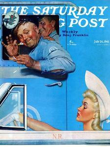 """""""Two Flirts"""" Saturday Evening Post Cover, July 26,1941 by Norman Rockwell"""