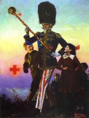 Uncle Sam Marching with Children by Norman Rockwell