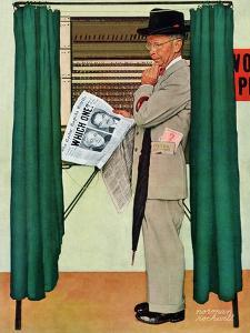 """Undecided""  November 4, 1944.  Man in voting booth w/newspaper. by Norman Rockwell"
