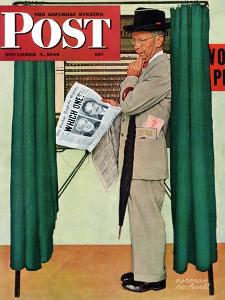 """""""Undecided"""" Saturday Evening Post Cover, November 4, 1944.  Man in voting booth w/newspaper. by Norman Rockwell"""
