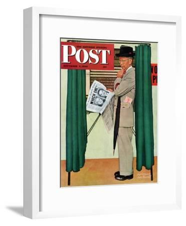"""""""Undecided"""" Saturday Evening Post Cover, November 4, 1944.  Man in voting booth w/newspaper."""