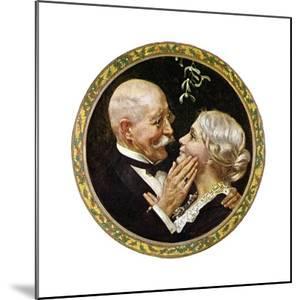 Under the Mistletoe (or Elderly Couple under Mistletoe) by Norman Rockwell