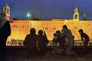 Uneasy Christmas in the Birthplace of Peace (or Christmas Eve in Bethlehem) by Norman Rockwell