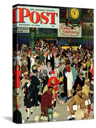 """Union Train Station, Chicago, Christmas"" Saturday Evening Post Cover, December 23,1944"