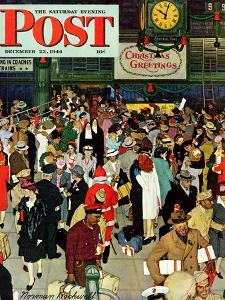 """""""Union Train Station, Chicago, Christmas"""" Saturday Evening Post Cover, December 23,1944 by Norman Rockwell"""