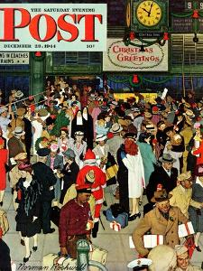 """Union Train Station, Chicago, Christmas"" Saturday Evening Post Cover, December 23,1944 by Norman Rockwell"