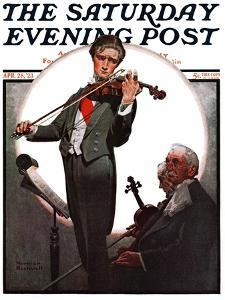 """""""Violin Virtuoso"""" Saturday Evening Post Cover, April 28,1923 by Norman Rockwell"""