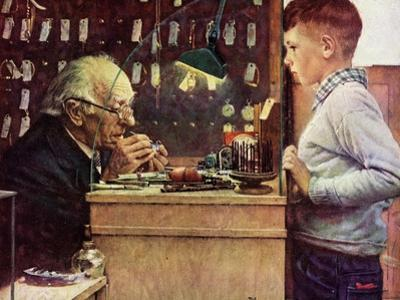 What Makes It Tick? (or The Watchmaker) by Norman Rockwell