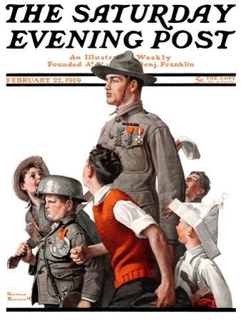 """When Johnny Comes Marching Home"" Saturday Evening Post Cover, February 22,1919 by Norman Rockwell"
