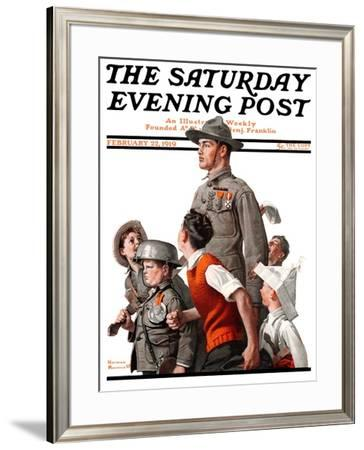 """""""When Johnny Comes Marching Home"""" Saturday Evening Post Cover, February 22,1919 by Norman Rockwell"""