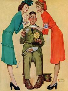 """Willie Gillis at the U.S.O."", February 7,1942 by Norman Rockwell"