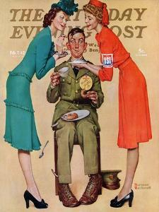 """""""Willie Gillis at the U.S.O."""" Saturday Evening Post Cover, February 7,1942 by Norman Rockwell"""
