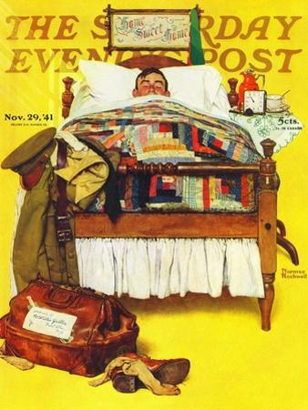 """""""Willie Gillis Home on Leave"""" Saturday Evening Post Cover, November 29,1941 by Norman Rockwell"""