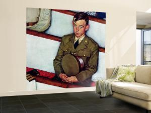 """""""Willie Gillis in Church"""" Saturday Evening Post Cover, July 25,1942 by Norman Rockwell"""