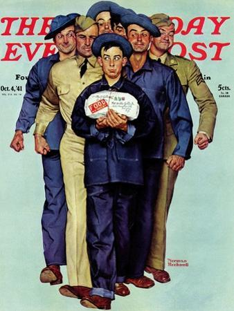 """Willie Gillis' Package from Home"" Saturday Evening Post Cover, October 4,1941 by Norman Rockwell"
