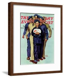 """""""Willie Gillis' Package from Home"""" Saturday Evening Post Cover, October 4,1941 by Norman Rockwell"""