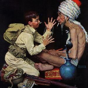 """Willie's Rope Trick"", June 26,1943 by Norman Rockwell"