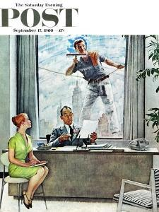 """""""Window Washer"""" Saturday Evening Post Cover, September 17,1960 by Norman Rockwell"""