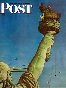 """""""Working on the Statue of Liberty"""" Saturday Evening Post Cover, July 6,1946 by Norman Rockwell"""