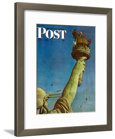 """""""Working on the Statue of Liberty"""" Saturday Evening Post Cover, July 6,1946"""