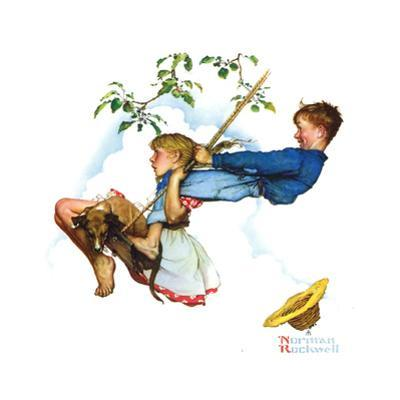 Young Love: Swinging by Norman Rockwell