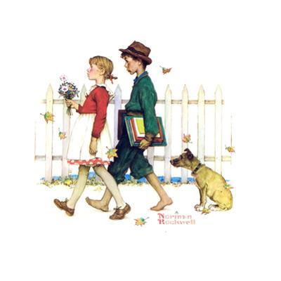 Young Love: Walking to School by Norman Rockwell