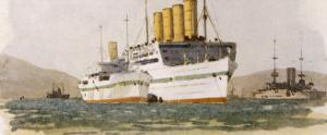 Cunard Passenger Liner Used During World War One as a Hospital Ship in the Gallipolli Campaign by Norman Wilkinson