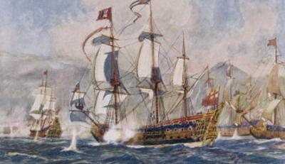 English Warships Under Admiral Blake in Action Against the French at Santa Cruz by Norman Wilkinson