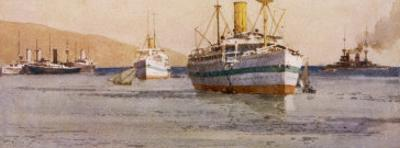 Hospital Carrier Ships Transporting Wounded from the Mainland to Rest Camps by Norman Wilkinson