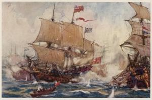 Naval Combats of the 17 and 18th Centuries Involve Numbers of Ships by Norman Wilkinson