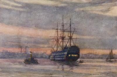 Nelson's Flagship at Portsmouth by Norman Wilkinson