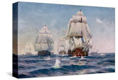 Nelson Sails into Action in His Flagship the Victory