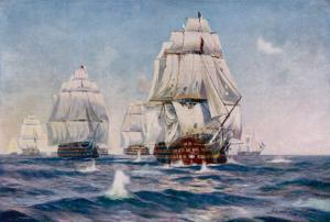 Nelson Sails into Action in His Flagship the Victory by Norman Wilkinson