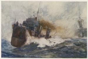River, Class Destroyer at Speed Its Four Funnels Belching Smoke as She Races Past a Warship by Norman Wilkinson