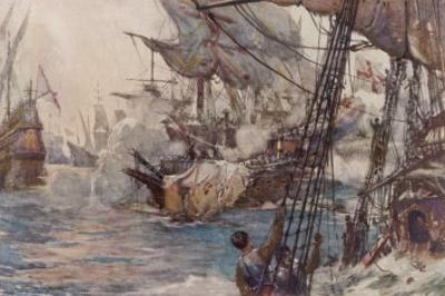 """Sir Richard Grenville in the """"Revenge"""" Fights the Spaniards But """"Revenge"""" is Sunk by Norman Wilkinson"""