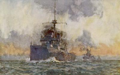 The British Battleship in Line Astern Formation with Other Steam Warships by Norman Wilkinson