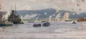 """The Scene at 5.30 A.M. on """"A"""" Beach Suvla Bay by Norman Wilkinson"""