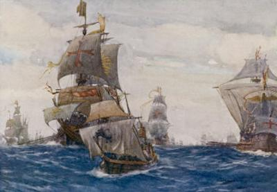 The Spanish Armada the Spanish Fleet in the Bay of Biscay on Its Way to Attack England by Norman Wilkinson