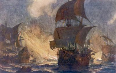 The Spanish Armada the Spanish Fleet is Dispersed by Fireships in the Calais Roads by Norman Wilkinson