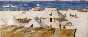 """The Welsh Casualty Clearing Station on """"A"""" Beach Suvla Bay by Norman Wilkinson"""