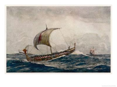 Viking Raiding Party Sailing Before the Wind by Norman Wilkinson