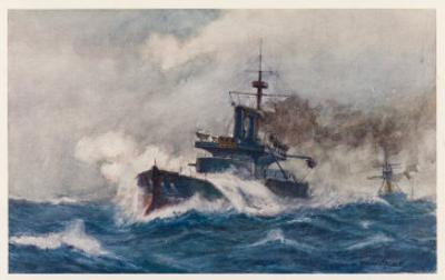 Warship of the Royal Navy Depicted at Speed in a Heavy Sea by Norman Wilkinson