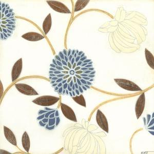 Blue and Cream Flowers on Silk I by Norman Wyatt Jr^